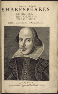 Cover image taken from First Folio. Mr. William Shakespeares Comedies, Histories, & Tragedies..  Originally published/produced in Isaac Iaggard and Ed. Blount, London, 1623.