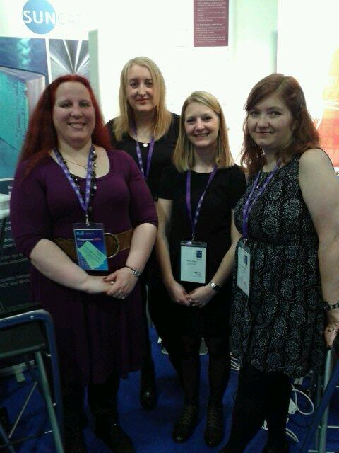 Members of the SUNCAT Bibliographic Team and Tiffany Perier from the ISSN International Centre at the EDINA exhibition stand, UKSG 2014