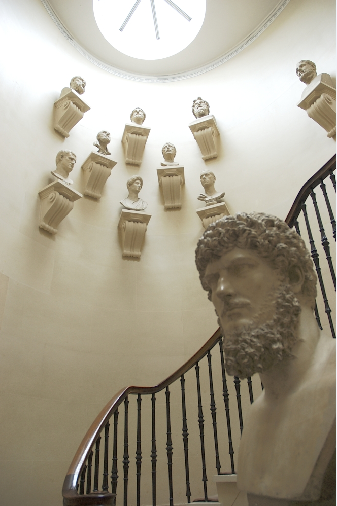 Image of an interior stairway with plaster casts found in the Scottish National Gallery.