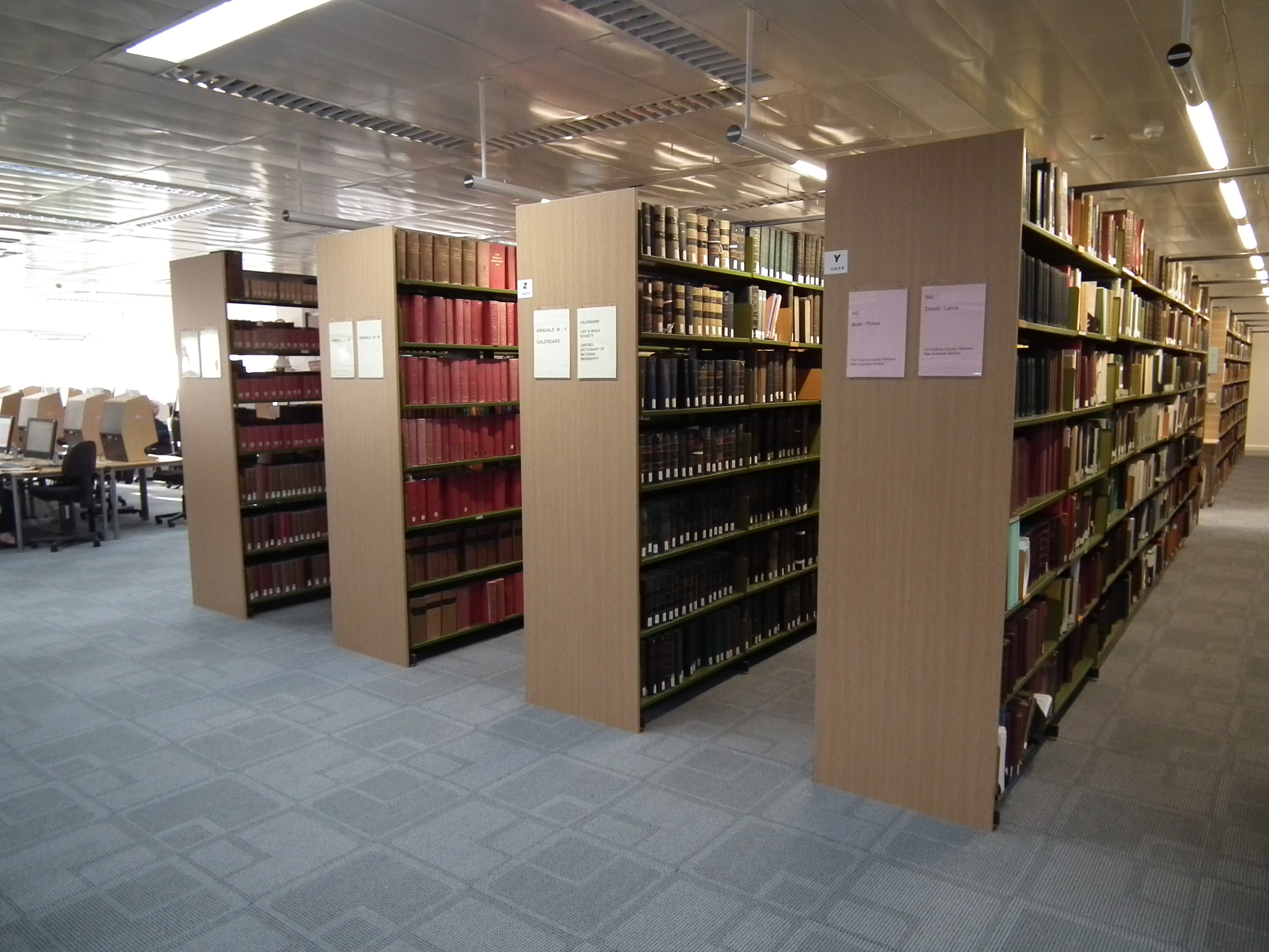 Photograph of the interior of The National Archives Library