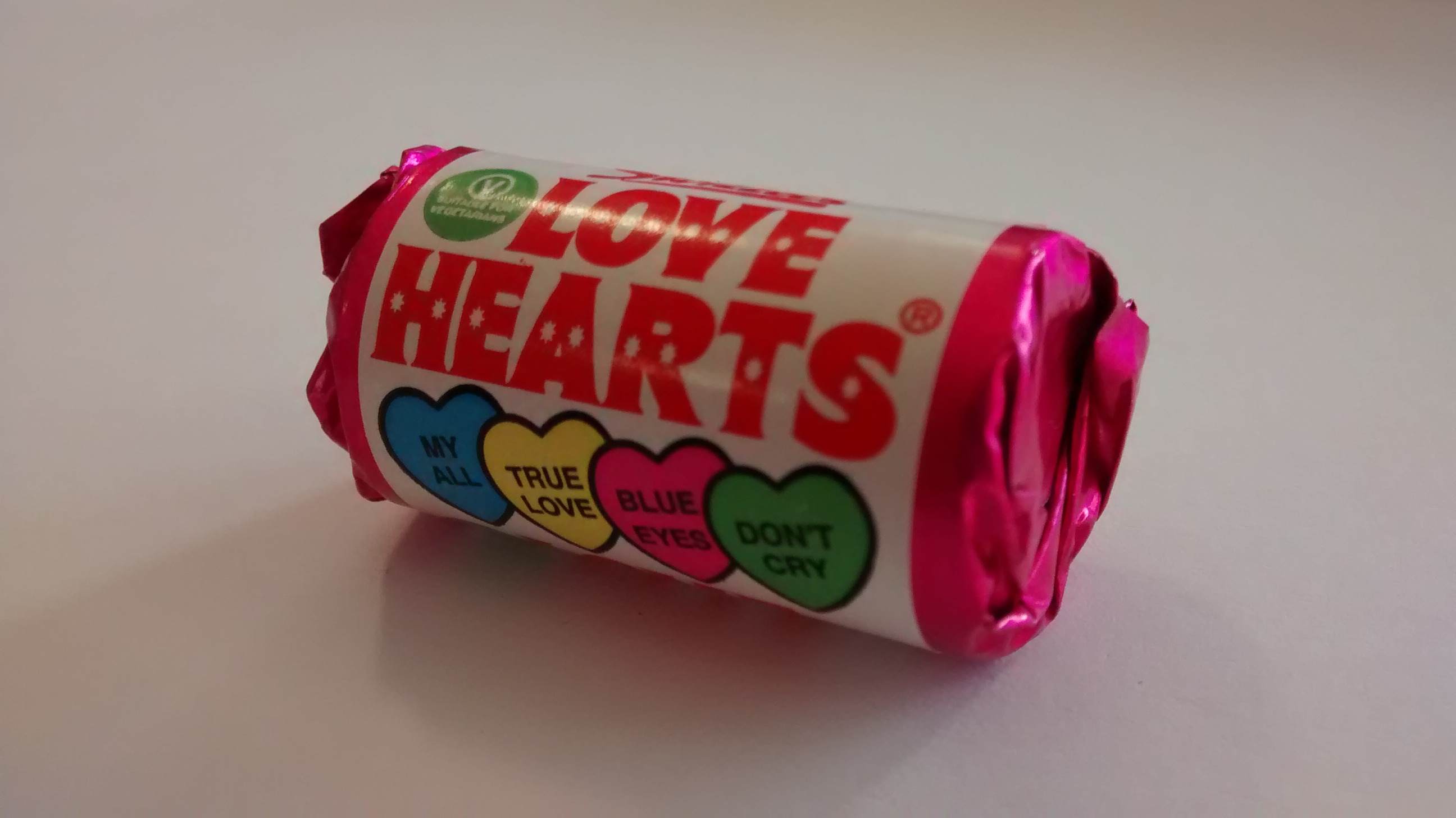 Photograph of a small packet of love hearts