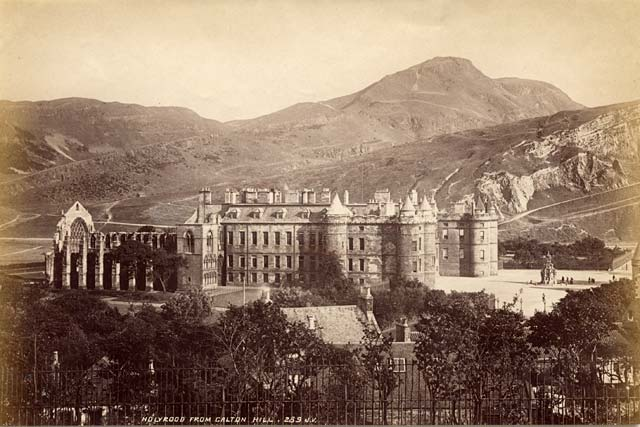 An image of Holyrood Palace from Calton Hill in Edinburgh by James Valentine. 1878 or earlier.