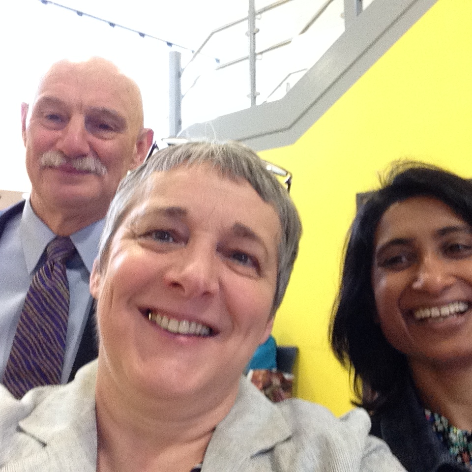 A photograph of three members of the National Coal Mining Museum Library team.