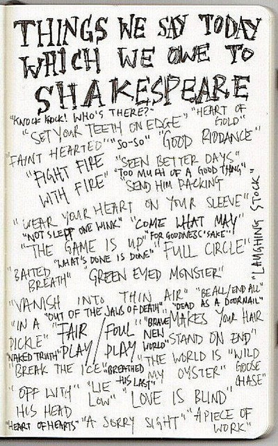 Image showing things we say today which we owe to Shakespeare.