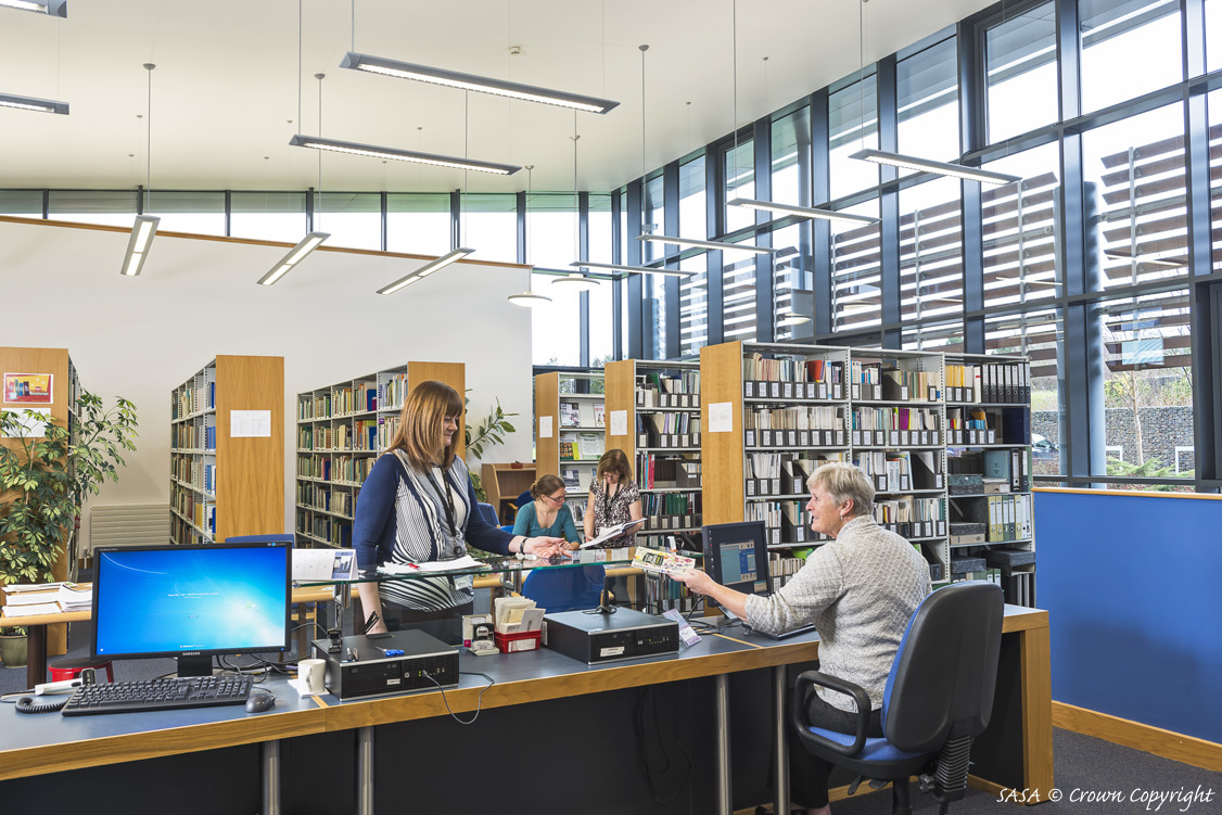 Photograph of the interior of the SASA Library.