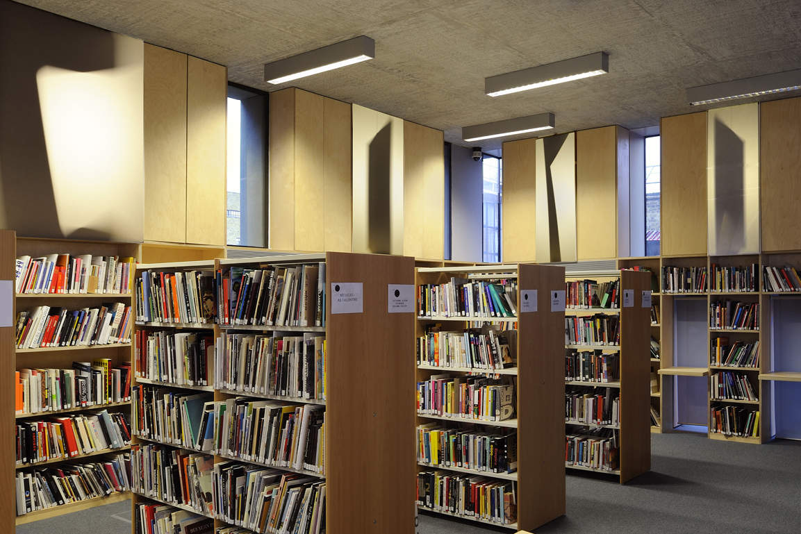 A photograph of the Stuart Hall Library, Iniva with Ansuman Biswas installation.