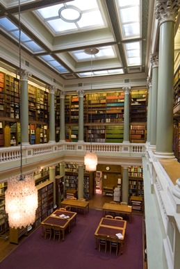 Photograph showing the interior of the Geological Society Library.