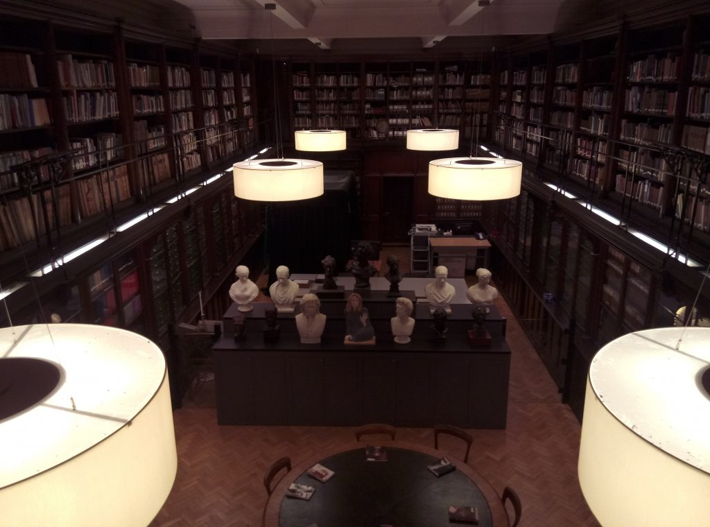 A photograph of the interior of the Scottish National Portrait Gallery Library