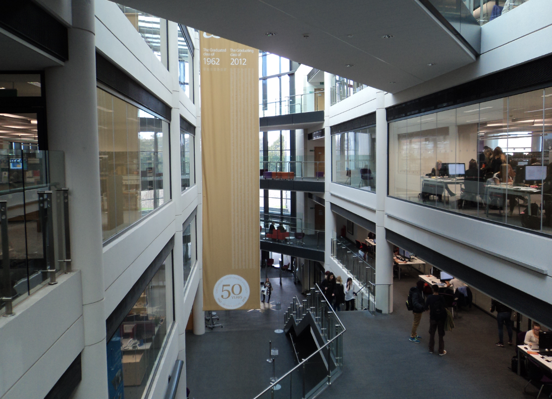 A photograph of the interior of Augustine House Library, Canterbury Christ Church University.