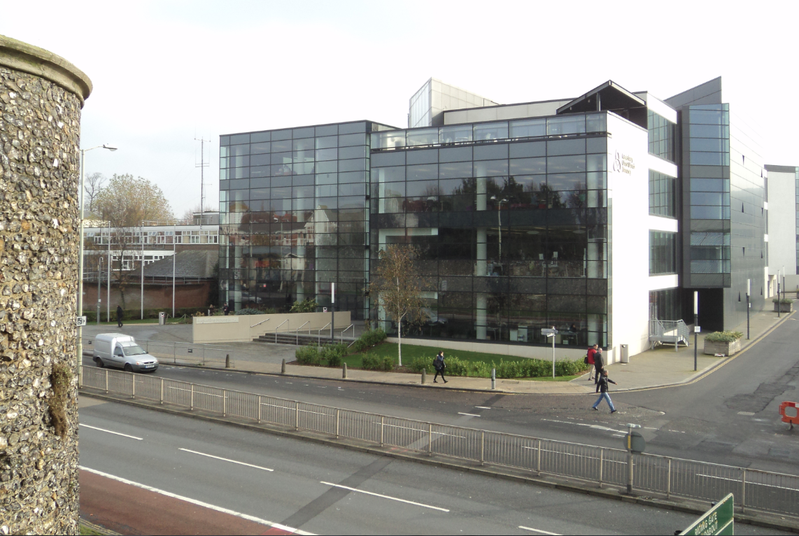 A photograph of the Augustine House Library building, Canterbury Christ Church University